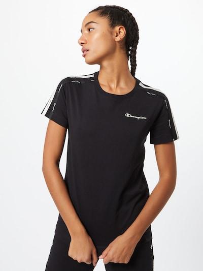 Tricou Champion Authentic Athletic Apparel pe negru / alb: Privire frontală