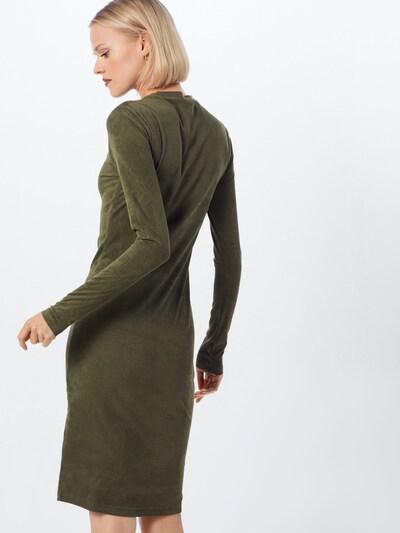 Urban Classics Kleita 'Ladies Peached Rib Dress LS' pieejami olīvzaļš: Aizmugures skats
