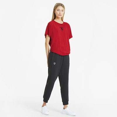 PUMA Ferrari Big Shield Damen T-Shirt in rot / schwarz: Frontalansicht