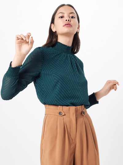 ONLY Bluse 'ONLNEW KAYLA L/S TOP WVN' in petrol: Frontalansicht