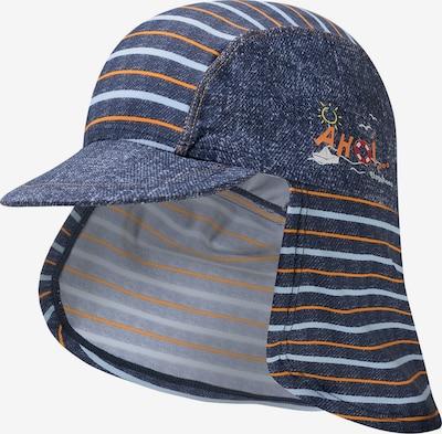 PLAYSHOES Sonnenhut 'AHOI' in blue denim / hellblau / orange, Produktansicht