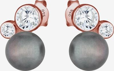ELLI Ohrringe in rosegold / basaltgrau / transparent, Produktansicht