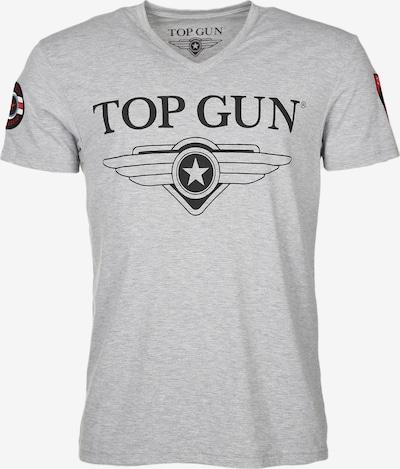 TOP GUN T-Shirt 'Stormy' in graumeliert / blutrot / schwarz, Produktansicht