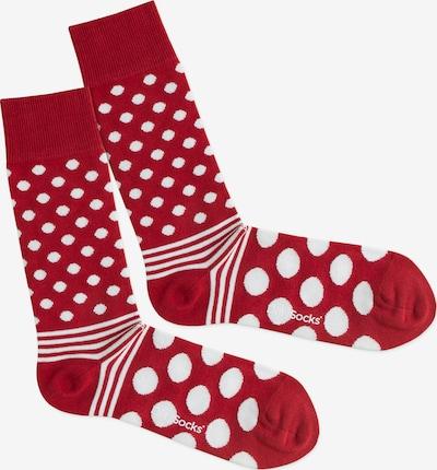 DillySocks Socken 'Dot Stripe Fire' in rot / weiß, Produktansicht