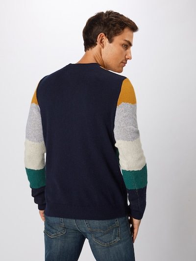 Megztinis 'LAANDES' iš ARMEDANGELS , spalva - tamsiai mėlyna / garstyčių spalva / šviesiai pilka / žalia: Vaizdas iš galinės pusės