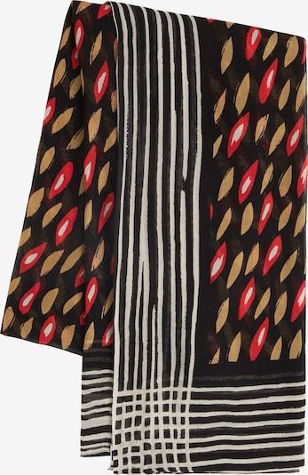 Sandwich Schal in hellbeige / rot / schwarz / weiß, Produktansicht