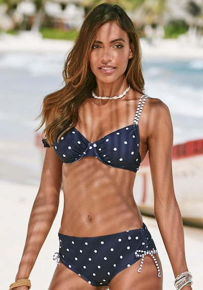 s.Oliver Bikinitop 'Audrey' in navy / weiß, Modelansicht