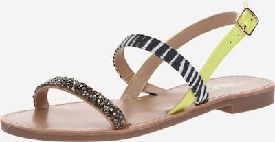 ONLY Sandale 'Melly' in neongelb / schwarz / weiß, Produktansicht