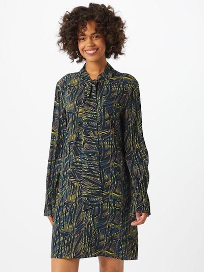 PATRIZIA PEPE Blusekjole i gul / khaki / petroleum / smaragd / mørkelilla, Modelvisning