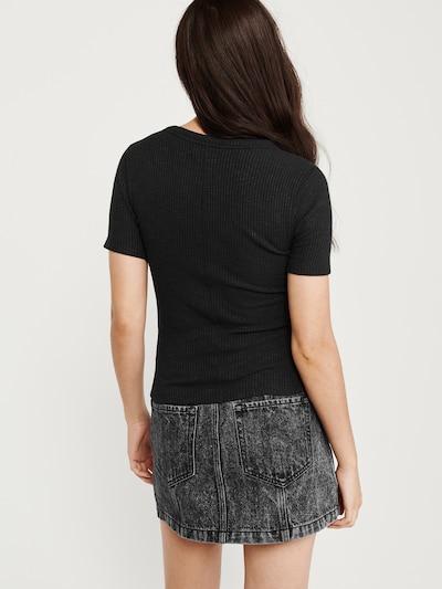 Abercrombie & Fitch T-Shirt 'S119-SS SLIM RIB TEE NEUTRALS' in schwarz: Rückansicht