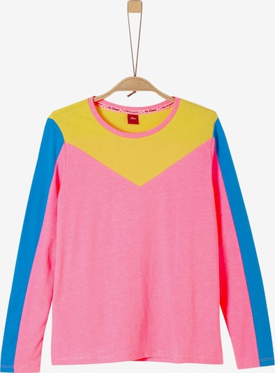 s.Oliver Junior Shirt in royalblau / limone / pink, Produktansicht