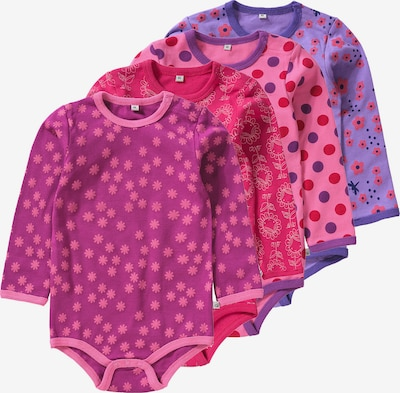 Pippi Langarmbodys in lila / pink, Produktansicht