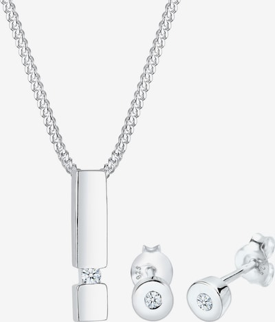 Diamore Parure de bijoux 'Geo, Rechteck' en argent, Vue avec produit
