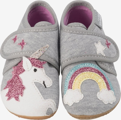 Living Kitzbühel Baby Hausschuhe für Mädchen, Einhorn in grau, Produktansicht