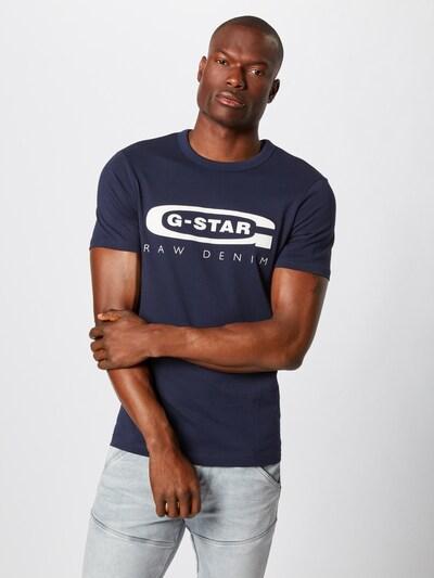 G-Star RAW Tričko 'Graphic 4' - tmavě modrá / bílá: Pohled zepředu
