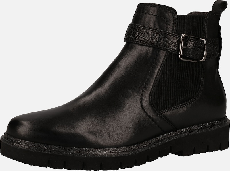 BE NATURAL Stiefelette in schwarz: Frontalansicht
