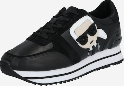 Karl Lagerfeld Zemie brīvā laika apavi 'VELOCITA II Karl Ikonic Meteor' melns / balts, Preces skats