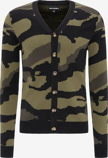 TUFFSKULL Strickjacke in dunkelgrau / khaki / schwarz, Produktansicht