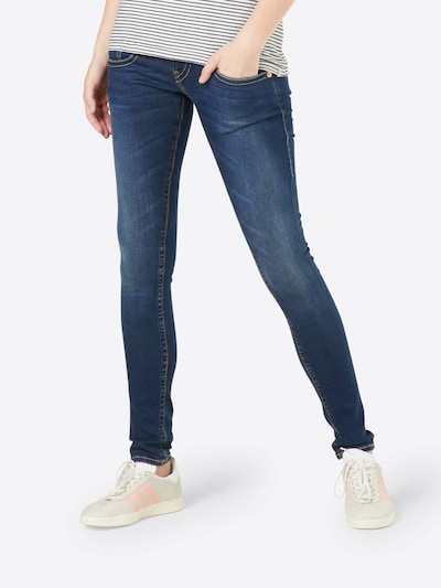 Herrlicher 'Pitch' Jeans im Used Look mit Kontrastnähten in blue denim, Modelansicht