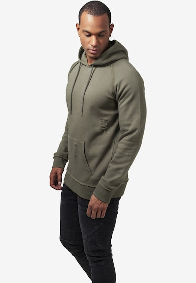 Urban Classics Ripped Hoody in oliv: Frontalansicht