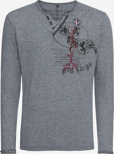 Key Largo Shirt in silbergrau / kirschrot / schwarz / weiß: Frontalansicht