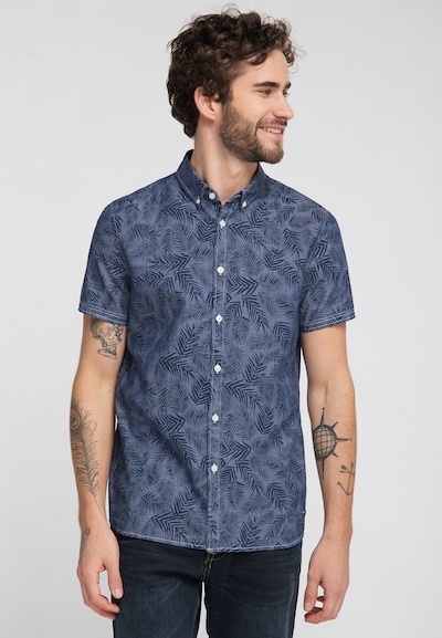 MUSTANG Hemd in nachtblau / taubenblau: Frontalansicht