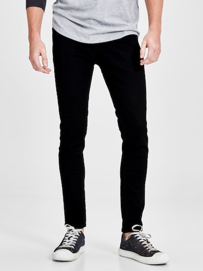 JACK & JONES Jeans 'Liam' i svart denim, På modell