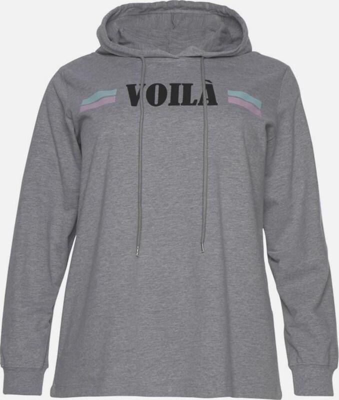 Zizzi En 'voila' shirt Sweat ChinéNoir Gris m0v8nONw