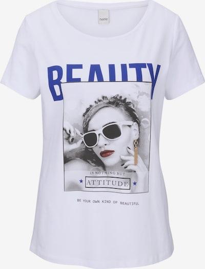 heine Shirt in blau / grau / blutrot / schwarz / weiß, Produktansicht