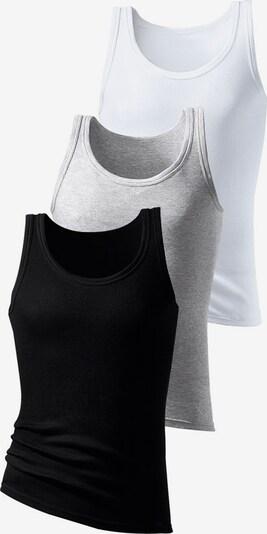 H.I.S Doppelripp-Tanktops (3 Stck.) in grau / schwarz / weiß, Produktansicht