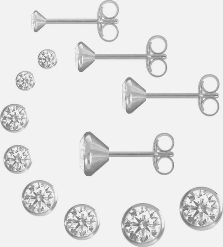 FIRETTI Schmuckset: 4 Paar Ohrstecker rund in verschiedenen Durchmessern (8tlg.)