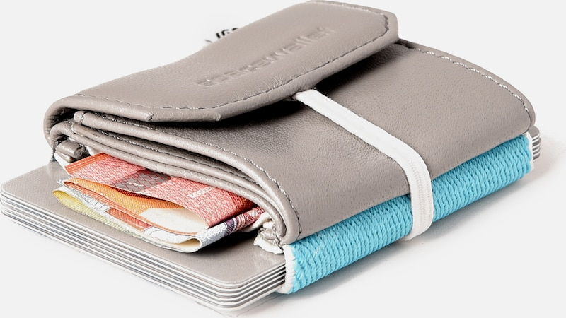 SPACE WALLET Mini Geldbörse 'SW-SURFER GREY PULL' in türkis / grau, Produktansicht