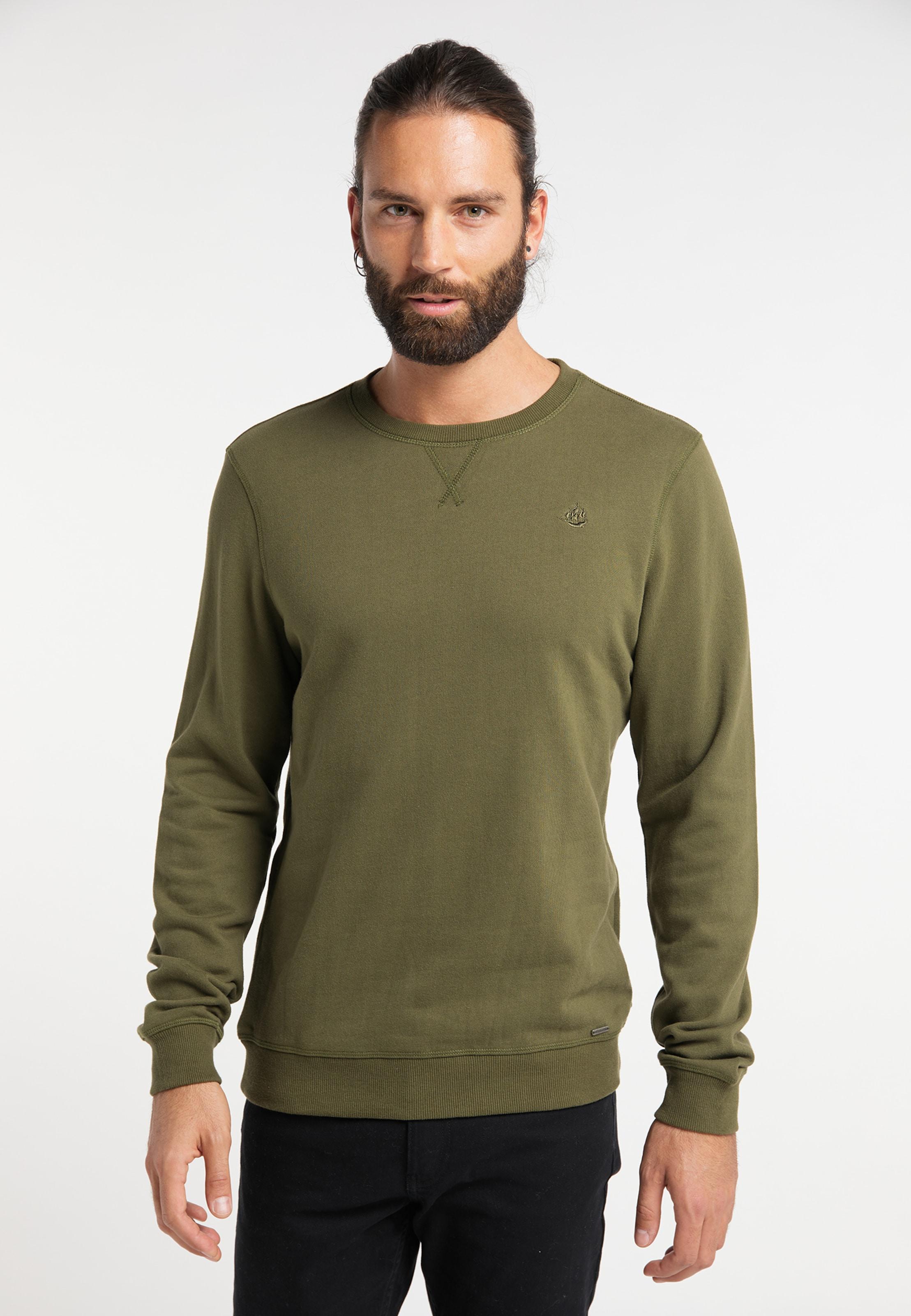 DREIMASTER Sweatshirt in grün Gerader Saum 4251686652748