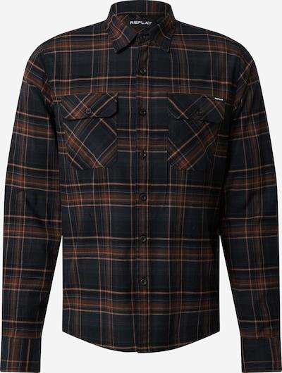 REPLAY Hemd in braun / hellbraun / dunkelgrau, Produktansicht