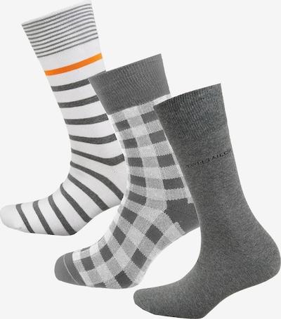 TOM TAILOR Socken in grau / dunkelgrau / graumeliert / dunkelorange / weiß, Produktansicht
