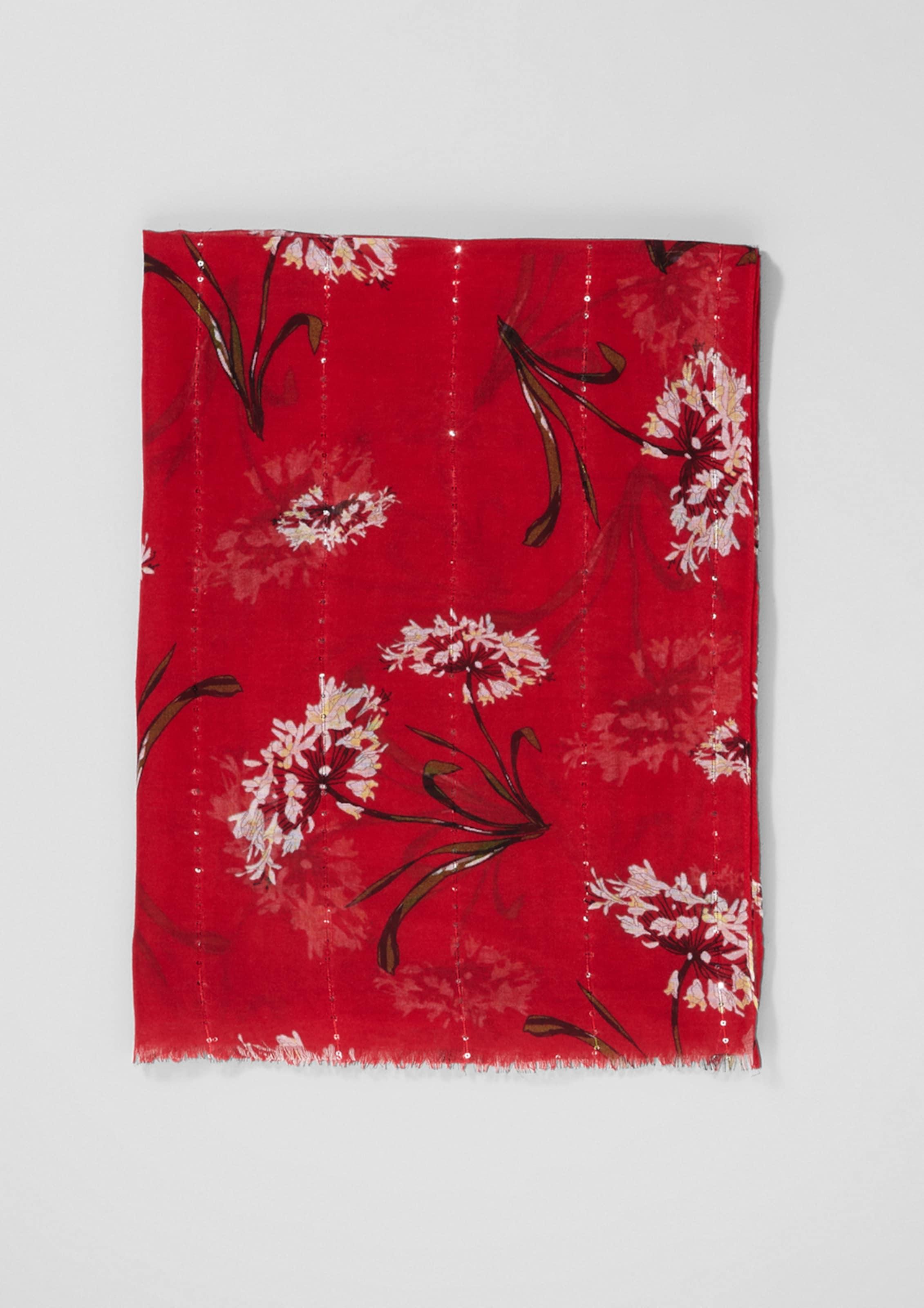s.Oliver BLACK LABEL Schal mit Blumen-Print Steckdose Countdown-Paket Schlussverkauf lfsBk