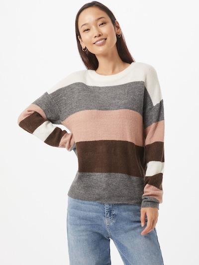 JACQUELINE de YONG Pullover 'NEW NORA' in braun / grau / rosa / weiß, Modelansicht