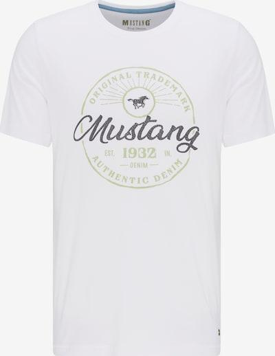 MUSTANG T-Shirt 'Logo Crack Tee' in pastellgrün / schwarz / weiß, Produktansicht