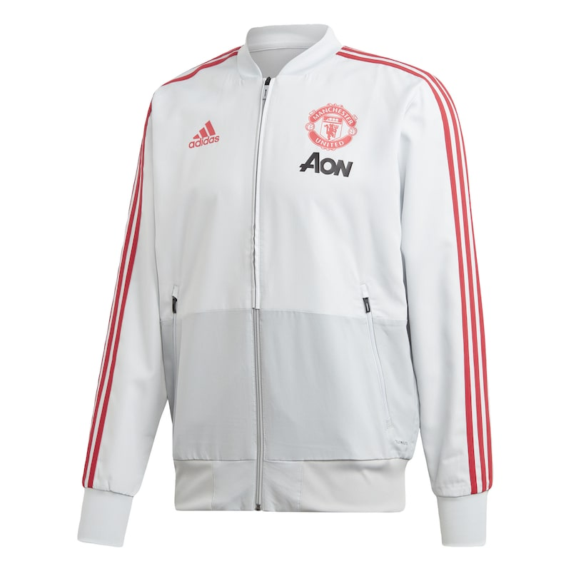 ADIDAS PERFORMANCE Sweatjacke 'Manchester United' in grau hellrot