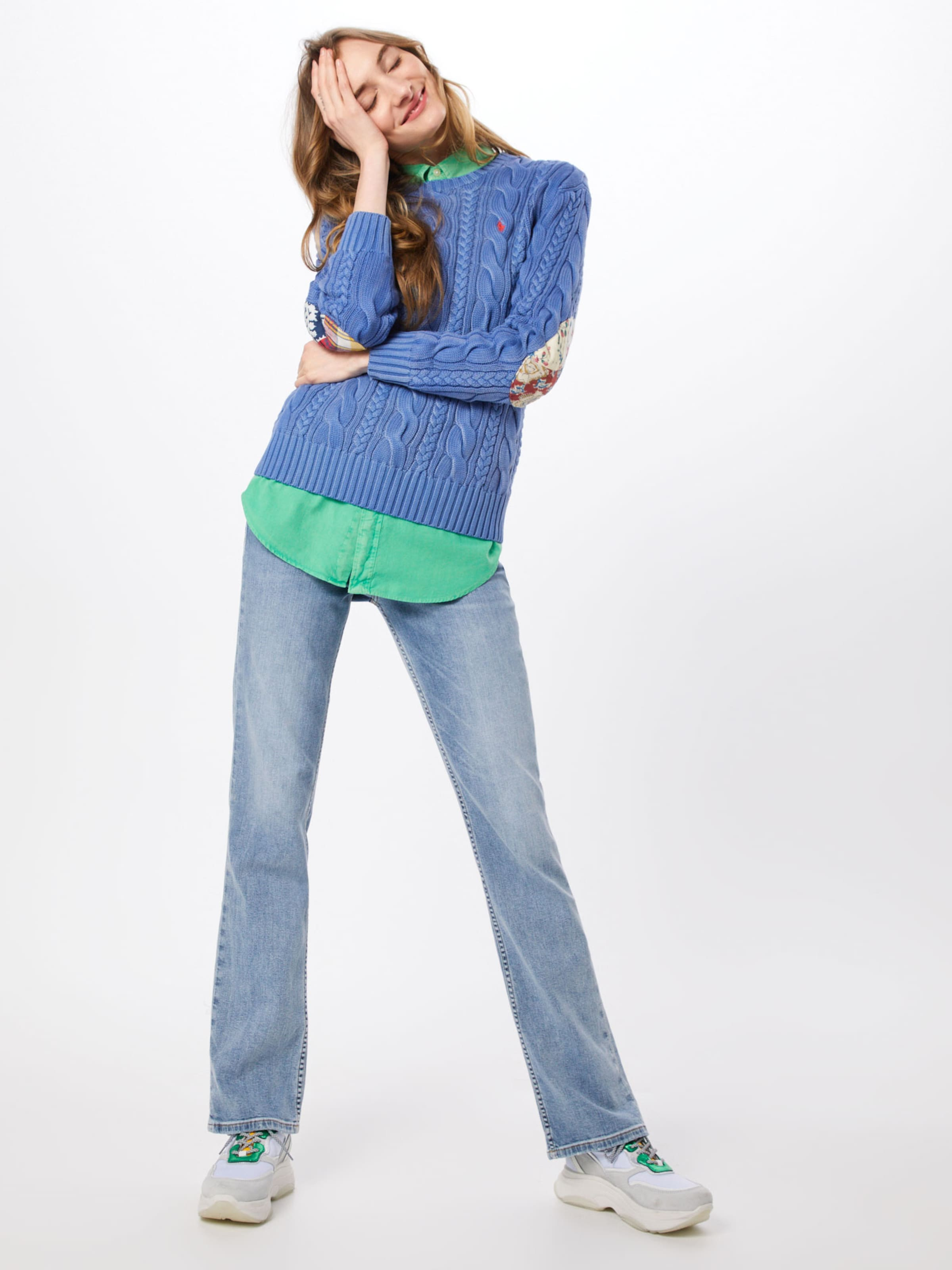 Bleu Lauren long Ralph Pull Ptch Sleeve sweater' Polo over En 'ls Elbw 54ARjL