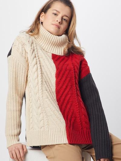 G-Star RAW Pull-over 'Weet turtle knit wmn l\s' en crème / bleu marine / rouge, Vue avec modèle