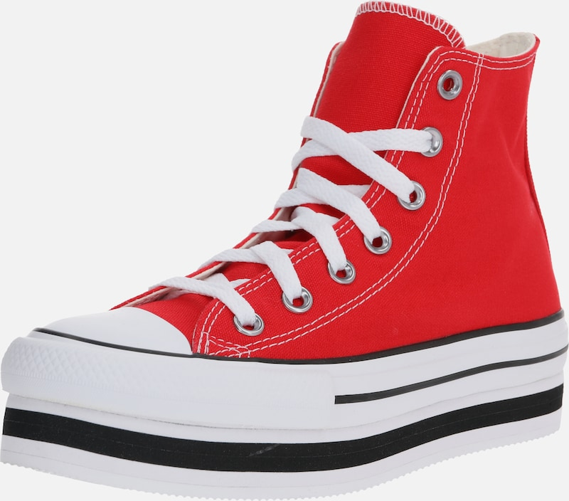 CONVERSE Sneaker 'CHUCK TAYLOR ALL STAR LAYER BOTTOM - HI' in rot / schwarz / weiß, Produktansicht