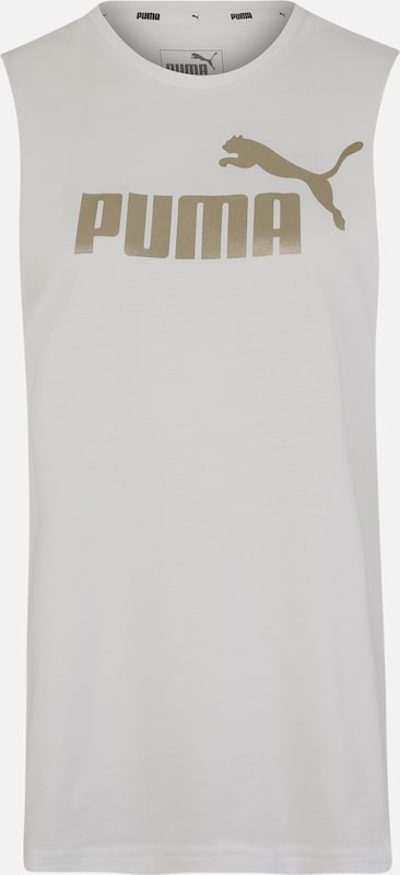 PUMA Functioneel shirt 'ESS+ Metallic ' in de kleur Goud / Wit, Productweergave