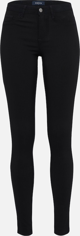 PIECES Jeggings 'PCSKIN WEAR MW /NOOS' in schwarz: Frontalansicht