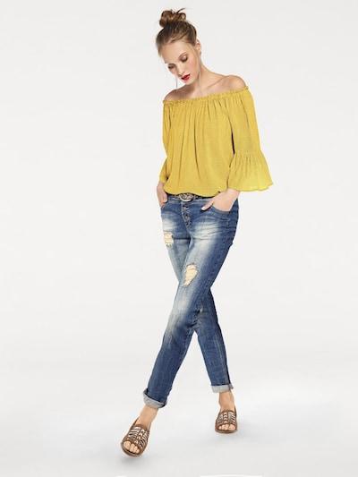 heine Carmenbluse in gelb / weiß, Modelansicht