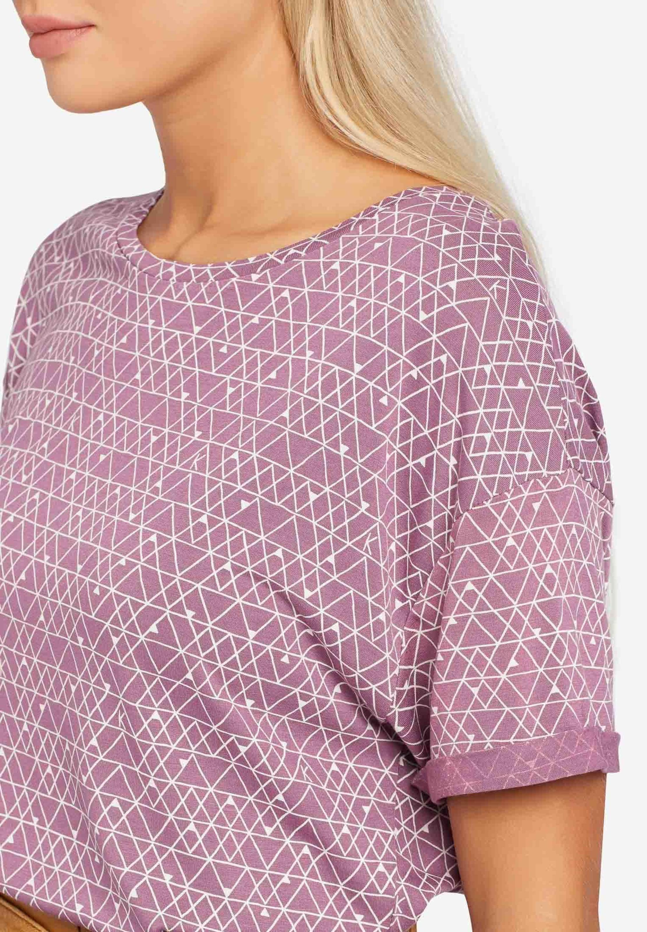 T In 'ornate Print' shirt LilaWeiß Khujo DH2IeWbYE9