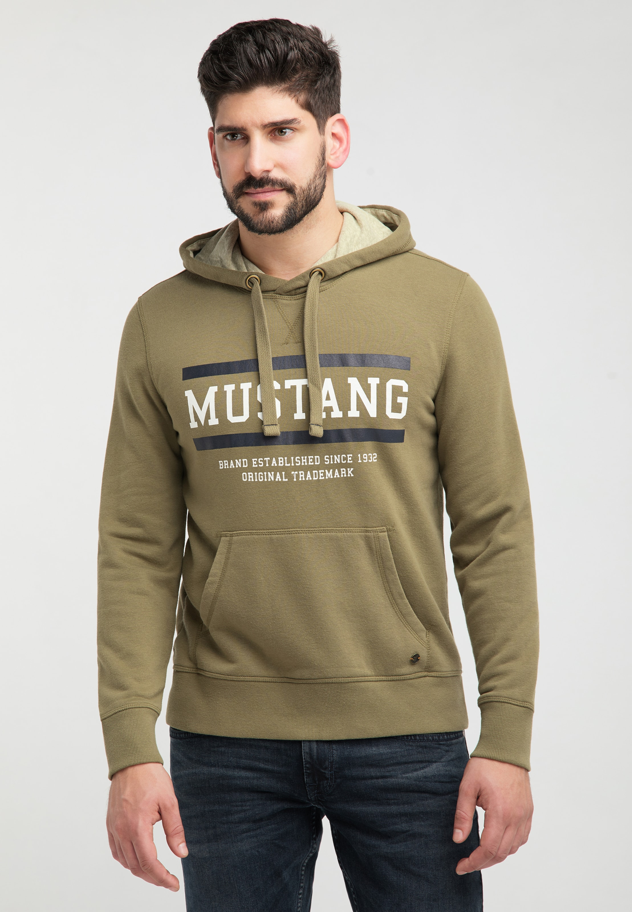 MUSTANG Sweatshirt ' Bennet H Logo ' in khaki Sweatstoff 1008008000001