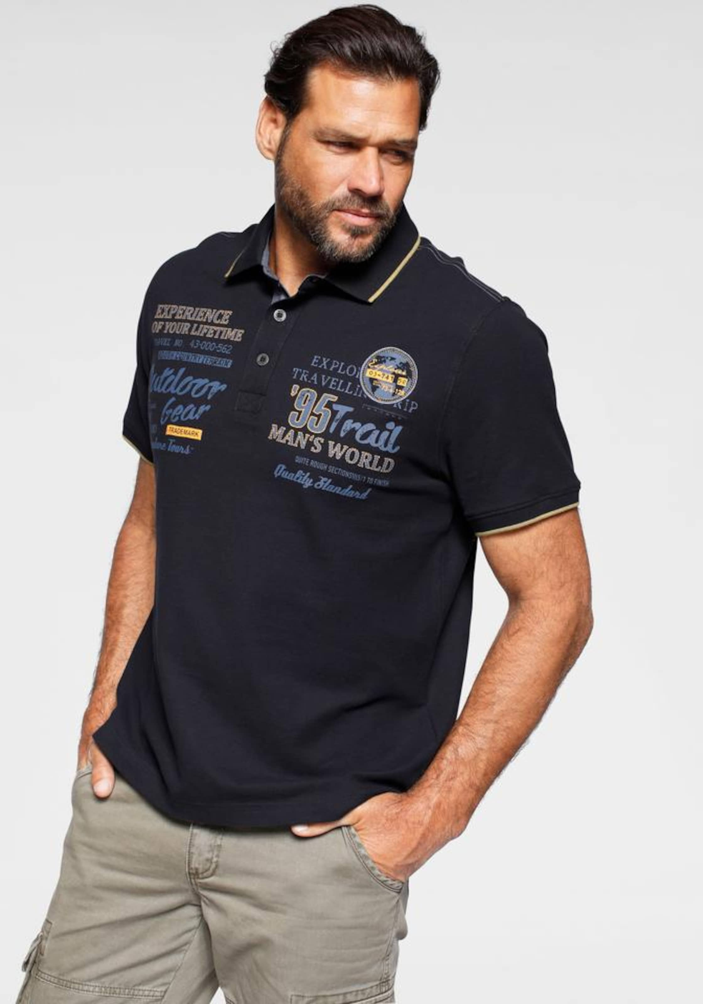 Man's World Poloshirt in dunkelblau Jersey 1000326296
