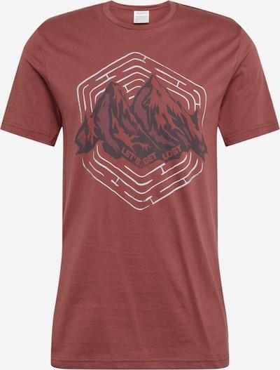 ARMEDANGELS Majica 'JAAMES' | antracit / vinsko rdeča / bela barva, Prikaz izdelka