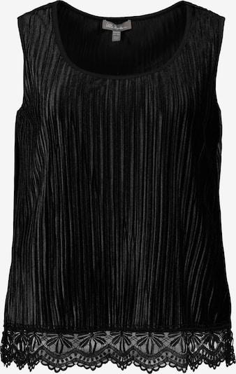 Ulla Popken Top 'Samt-Top in Crash-Optik mit Spitzensaum, SLIM' in schwarz, Produktansicht